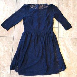 3/$15 lace dress AB Studio navy blue 3/4 sleeves